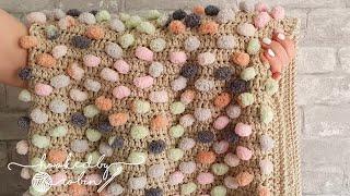 Crochet Pom Pom Yarn Blanket 🐰