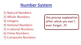 Rational, Irrational, Prime, Composite, Natural, Whole numbers, Integers - Number System | Team MAST