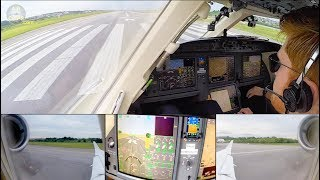MASSIVE Falcon 7X 3-Engined Private Jet Brazil-Ireland Air Hamburg ULTIMATE COCKPIT MOVIE [AirClips]