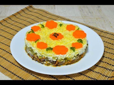 Вкусный слоеный салат с печенью рецепт