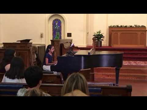 """11-year-old piano student Udhirna Krishnamurthy plays """"Largo"""" at the 2017 Spring Recital."""