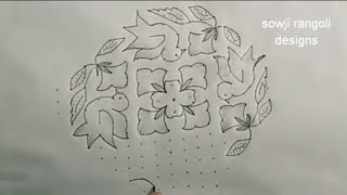 beautiful parrots kolam with 16-6-6 dots straight//chukkala muggulu/simple rangoli design