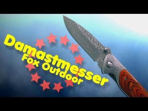 Outdoor Damastmesser Fox Klappmesser mit Lederholster