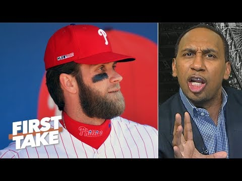 19e0f719 I 'loved' Bryce Harper getting booed in his hitless Phillies debut -  Stephen A.   First Take