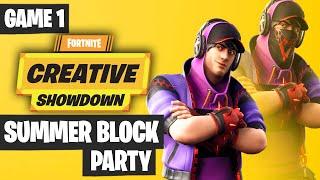 Fortnite Creative Showdown Game 1 Highlights - Summer Block Party [PRO AM 2019]