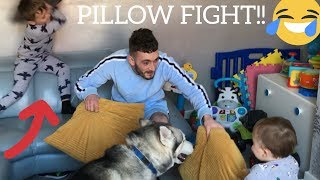 HUSKIES PROTECT ME FROM KIDS ATTACKING WITH PILLOWS!! [OUR FUNNIEST VIDEO EVER!!]