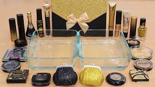 Black Vs Gold - Mixing Makeup Eyeshadow Into Slime ASMR 386 Satisfying Slime Video