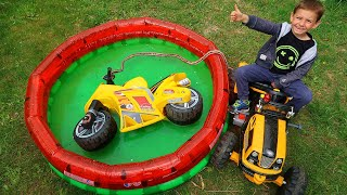 Liam colored Motorbike in Pool Saved with Friend