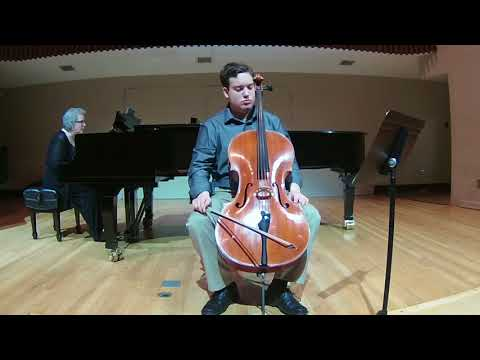 Playing the first and second movements of Beethoven's First (Op. 5, No. 1) Sonata for Cello and Piano.