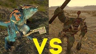 Завры-воины (щиты) vs Четкие пацаны диких орков Total War Warhammer 2. тесты юнитов v1.4.1.