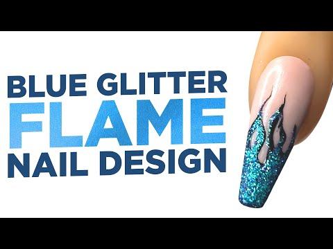 Young Nails Nail Demo - Blue Glitter Flame Nail Design - Gel Paint Nails
