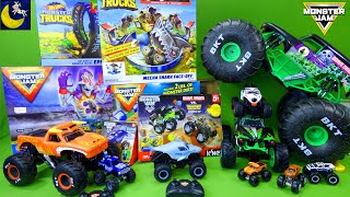 LOTS of Monster Jam Monster Trucks Toys! Mega Grave Digger Remote Control RC Hot Wheels Playset Toys