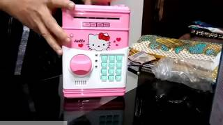 kids save money with new mini ATM Machine coin box unboxing demo 2017