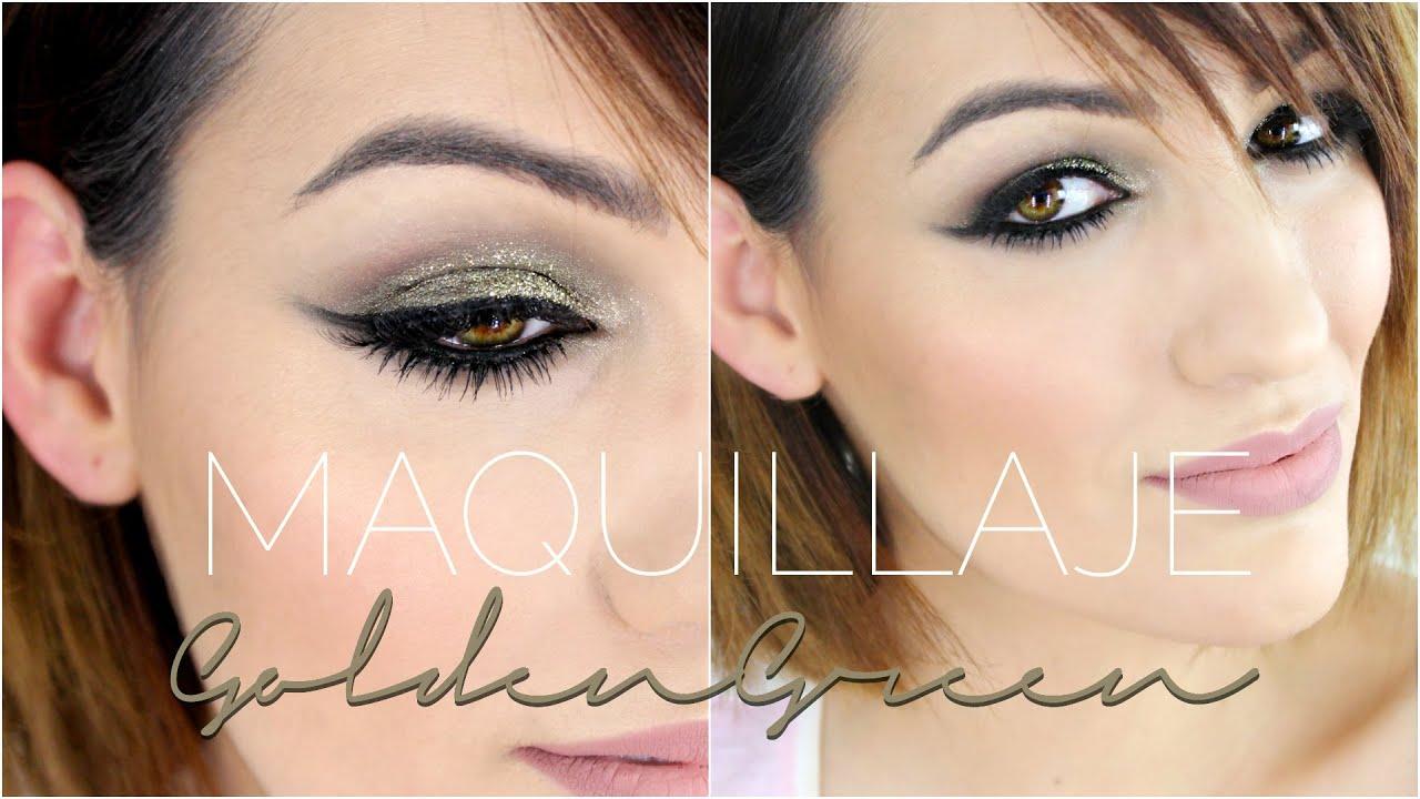 Maquillaje verdes y dorados con Glitter   Goldengreen