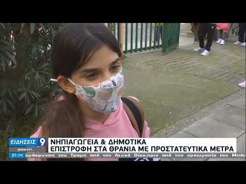 Με μάσκες, ανοιχτά παράθυρα και αντισηπτικά, επέστρεψαν οι μαθητές |11/1/2021|ΕΡΤ