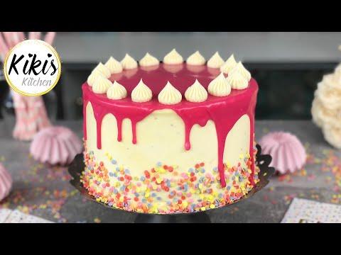 Die ULTIMATIVE Geburtstagstorte | Drip Birthday Cake | White Chocolate Frosting | Drip Torte