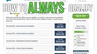 How To ALWAYS QUALIFY for Online Survey Sites