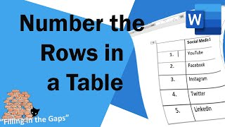 Numbering the rows in your Word tables