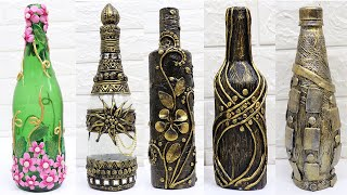5 Bottle Art Design Ideas With Clay | Home Decoration Ideas Handmade