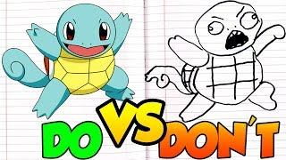 DOs & DON'Ts Drawing Pokemon Squirtle POKÉMON In 1 Minute CHALLENGE!