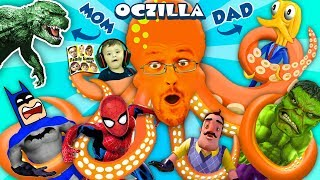 GODZILLA MOMMY + OCTOPUS DADDY = OCTZILLA!! FGTEEV & Friends: Batman, Hello Neighbor, Spiderman Hulk