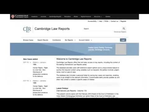 Introducing Cambridge Law Reports