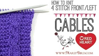 Beginner Basics Knitting: 4 Stitch Left Cable