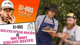 DJ BBQ's Rib Eye Steak Recipe VS Russia's Holy Rib's Sirloin with Prime Beef on the weber bbq grill