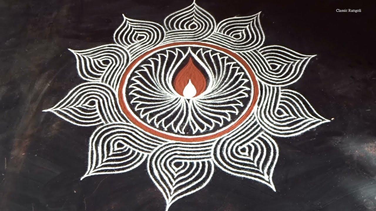 simple rangoli padi kolam design by classic rangoli