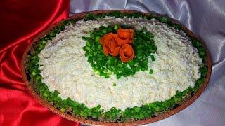 """Новогодний салат  """"Снежка"""". Сытный салат с мясом"""