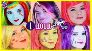 1 HOUR MY LITTLE PONY MANE 6 MAKEUP TUTORIALS! Rainbow Dash Pinkie Pie Twilight Sparkles KITTIESMAMA