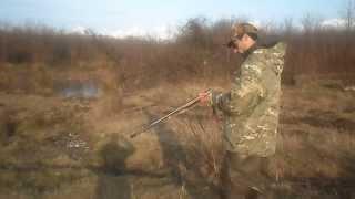 стрельба из иж-18е.дробь №0. дистанция 60 метров.