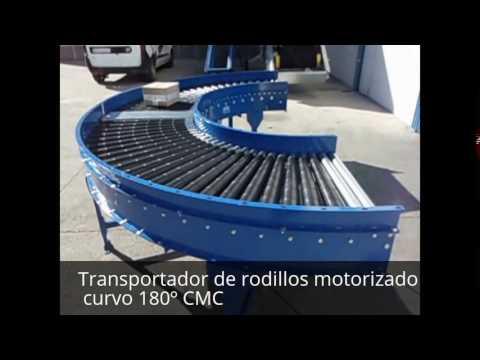 Transportador de rodillos motorizado curvo 180º CMC