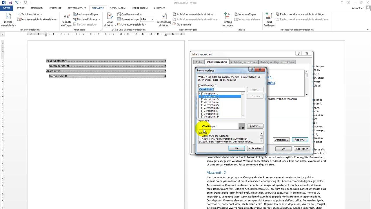 Automatisches Inhaltsverzeichnis erstellen – Word-Tutorial