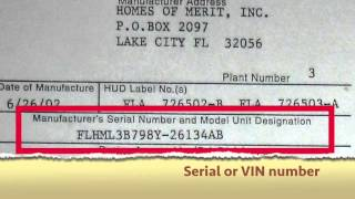 Where do I find the Vehicle Identification Number (VIN) on a mobile home?
