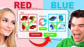 One Color TRADING Challenge With My BOYFRIEND In Adopt Me! (Roblox)