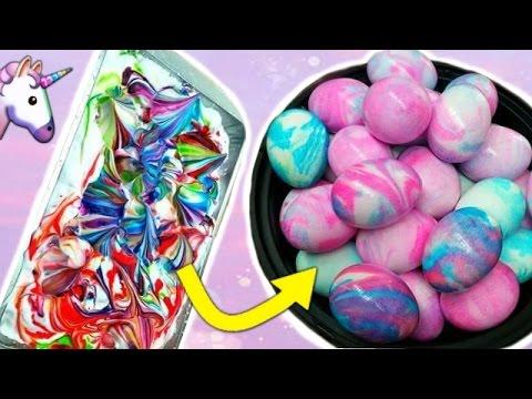 EINHORN OSTEREIER mit RASIERSCHAUM färben 😍 | DIY