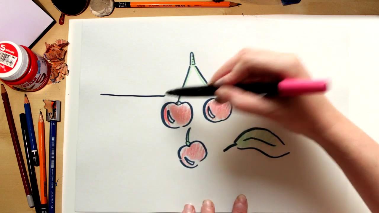 Como desenhar Cerejas - desenhos de frutas para crianças