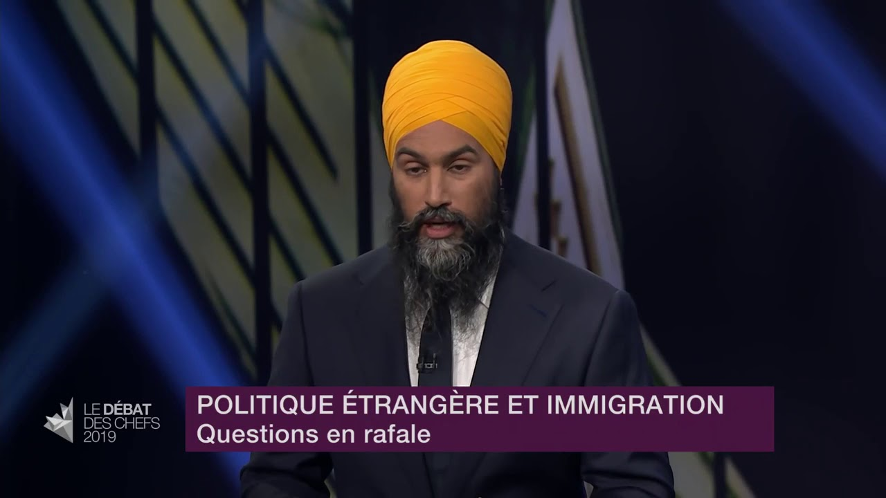 Jagmeet Singh answers a question about free trade