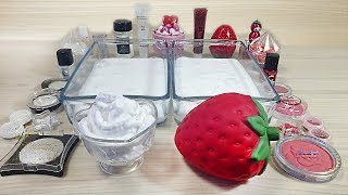 Strawberries with Cream / Mixing eyeshadow and glitter into White Slime