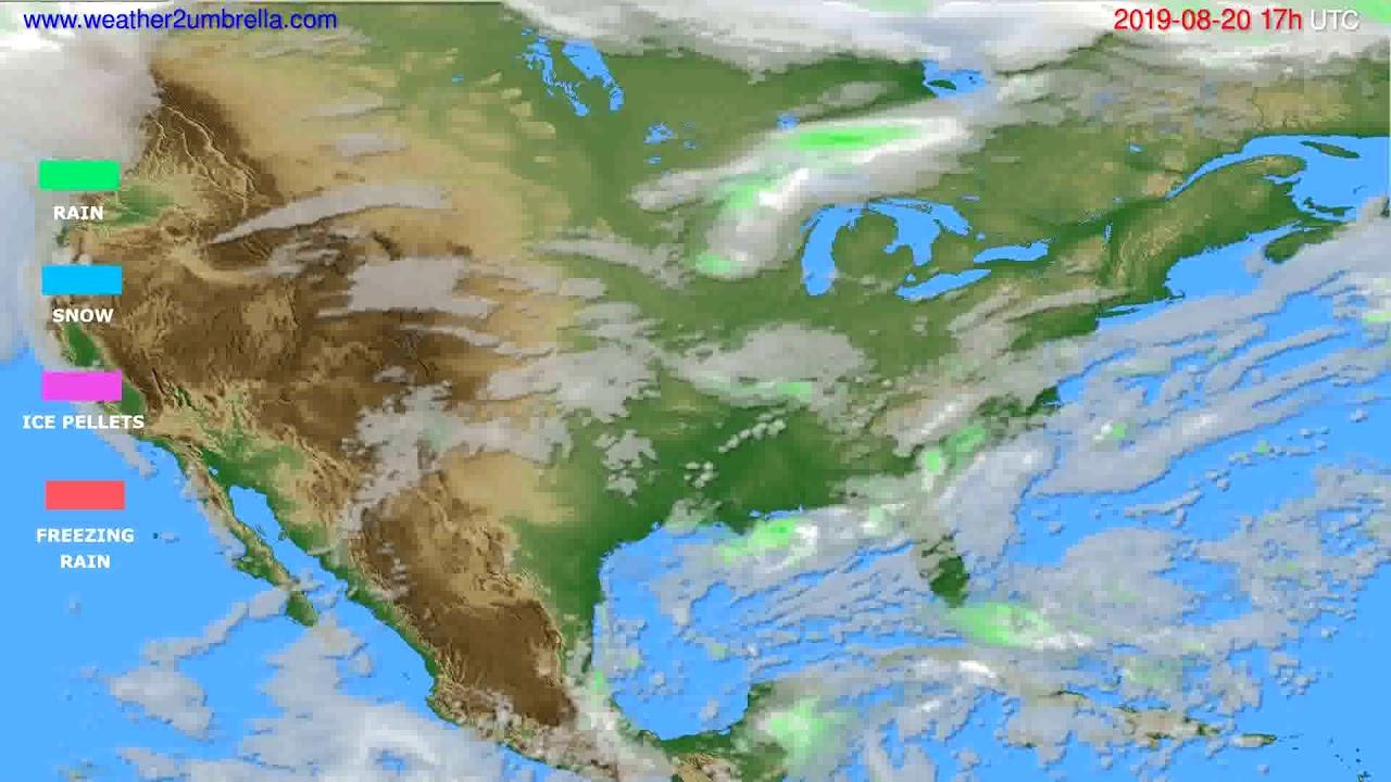 Precipitation forecast USA & Canada // modelrun: 00h UTC 2019-08-19