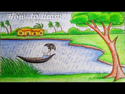 How to draw a scenery of rainy season step by step (very easy)