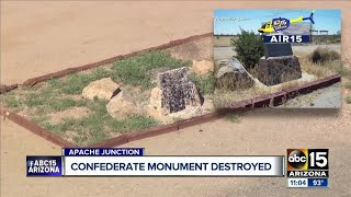 Phoenix Confederate monument defaced with paint; Apache Junction area monument damaged