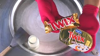 TWIX Yogurt Ice Cream Rolls   how to make TWIX Chocolate Bar and Yogurt rolled Ice Cream   ASMR Food