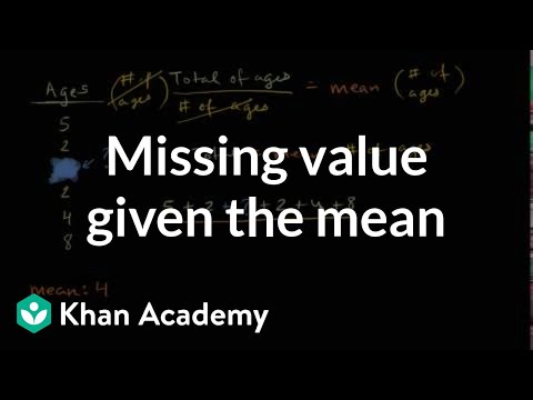 Missing Value Given The Mean Video Khan Academy