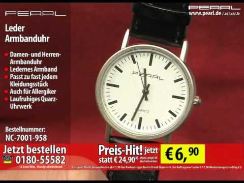 PEARL Leder Armbanduhr