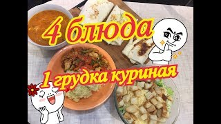4 Блюда из одной куриной грудки ( Цезарь , Щи , Овощи тушенные , рол с курицей  )