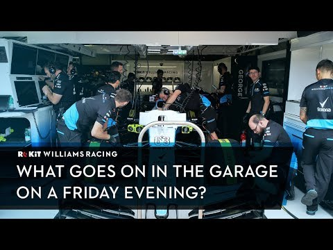 What's going on in an F1 garage on Friday evening?