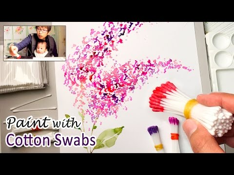 Cotton Swabs Painting Technique for Beginners | Basic Easy Step by step