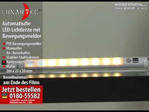 Lunartec Automatische LED-Lichtleiste mit Bewegungsmelder, warmweiß